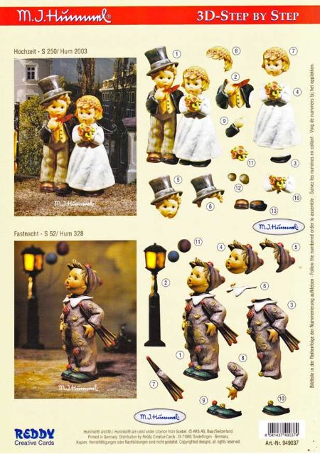 Hummel Wedding Couple 3d Decoupage Sheet